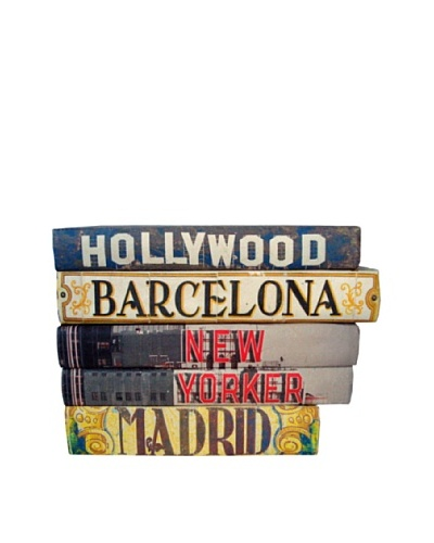 By Its Cover Hand-Rebound Set of 5 City Signage Decorative Books, I