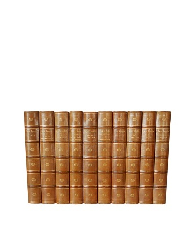 By Its Cover Decorative Reclaimed European Leather-Bound Books, 10 Volume Set