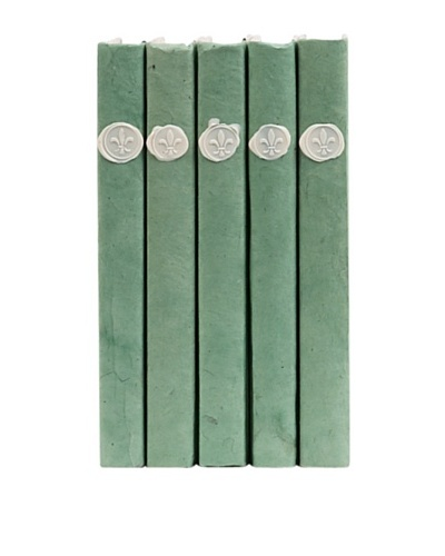 By Its Cover Hand-Rebound Set of 5 Wax Seal On Sage Decorative Books