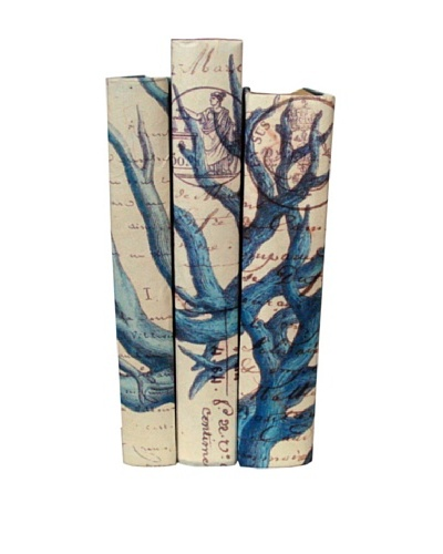 By Its Cover Hand-Rebound Set of 3 Blue Coral Decorative Books, III