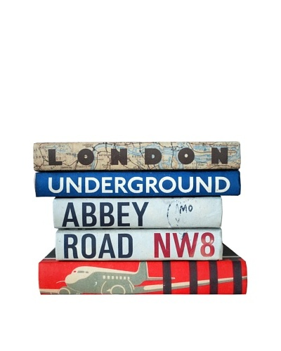 By Its Cover Decorative Reclaimed Books Travel Series V, Set of 5