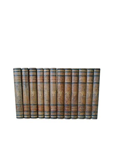 By Its Cover Decorative Reclaimed European Leather-Bound Books, 12 Volume Set