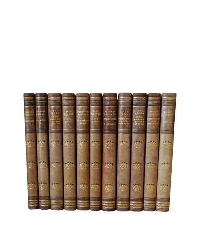 By Its Cover Decorative Reclaimed European Leather-Bound Books, 11 Volume Set