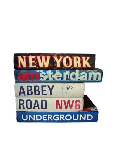 By Its Cover Hand-Rebound Set of 5 City Signage Decorative Books, II