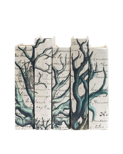 By Its Cover Hand-Rebound Set of 5 Blue Coral Decorative Books, II