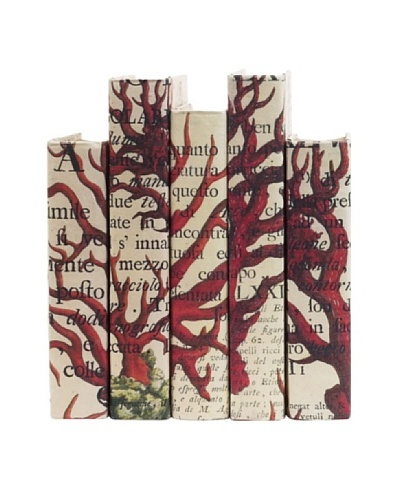 By Its Cover Hand-Rebound Set of 5 Red Coral Decorative Books, I,