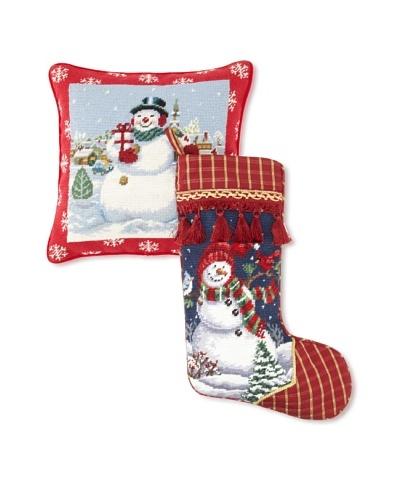 C & F Enterprises Snowman Stocking & Pillow Set