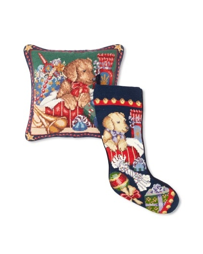 C & F Enterprises X'Mas Puppy Stocking & Pillow Set
