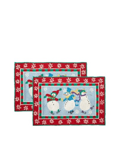 C & F Enterprises Set of 2 Skiing Snowman Hooked Rugs