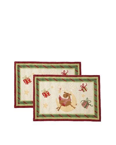C & F Enterprises Set of 2 Reindeer Whimsy #1 Hooked Rugs