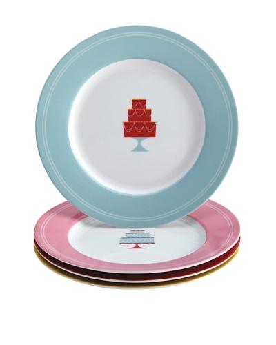"Cake Boss 4-Pack Retro ""Cakes"" Dessert Plate Set"