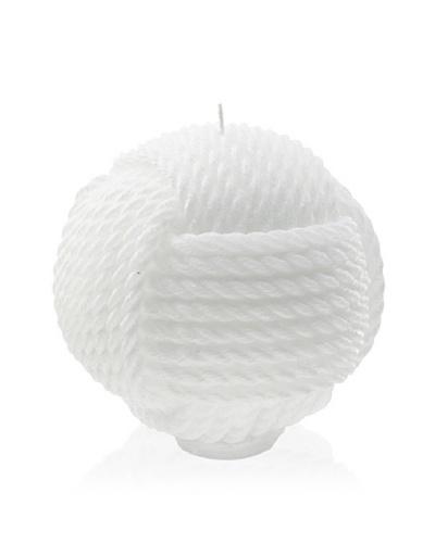 Point à la Ligne Large Corded Sphere Candle, White, Medium