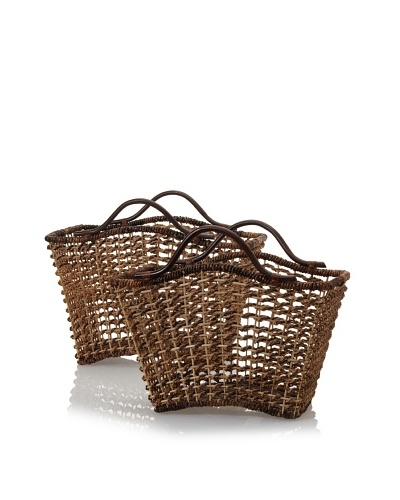 Padma's Plantation Set of 2 Bali Nesting Baskets with Rattan Handles