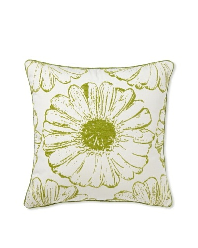 Elsa Blue Verde Sunflower with Cord Indoor/Outdoor Pillow, 20 x 20