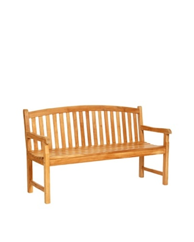 Caluco Crown Teak Bench, Natural