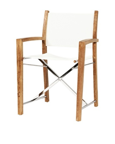 Caluco Director Folding Dining Chair, Natural/Off-White