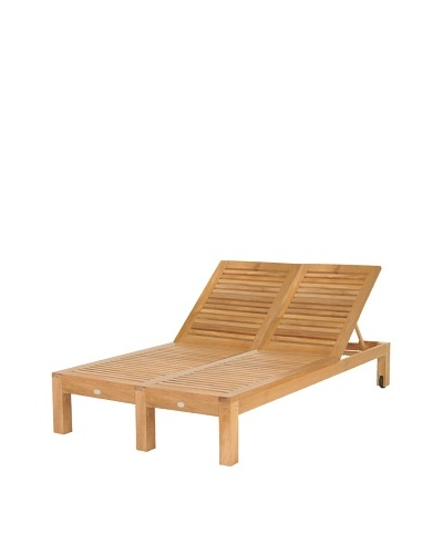 Caluco Teak Double Chaise, Natural