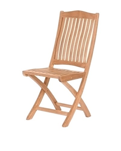 Caluco Folding Teak Side Chair, Natural