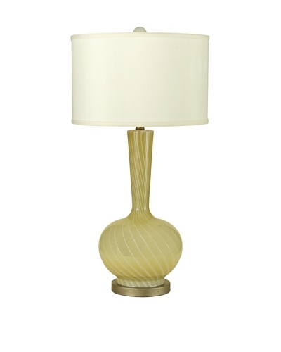 Candice Olson Lighting Cleo Table Lamp, Hand Blown Butter Cream Swirl Glass with Cream Linen Shade 1...