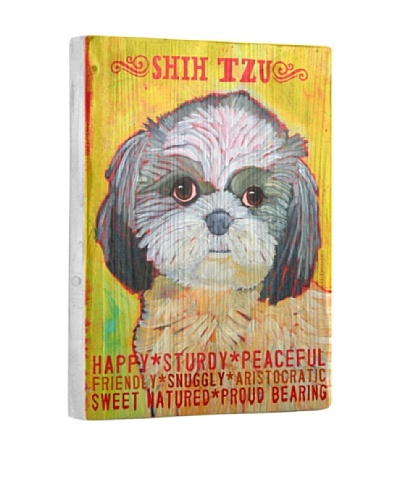 Ursula Dodge Shih Tzu Reclaimed Wood Portrait