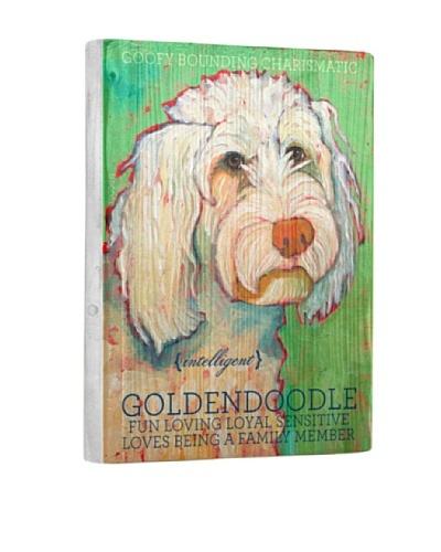 Ursula Dodge Goldendoodle Reclaimed Wood Portrait