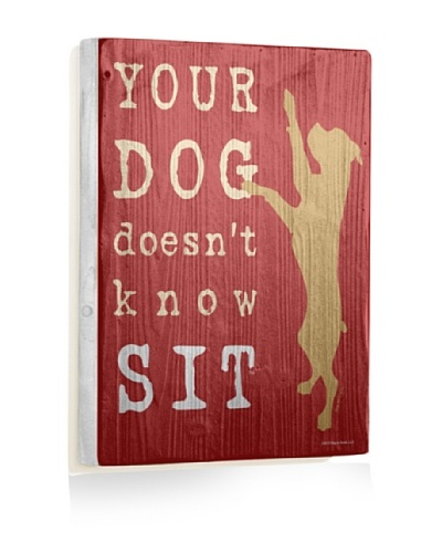 Ursula Dodge Your Dog Doesn't Know Sit Reclaimed Wood Sign