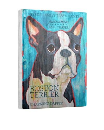 Ursula Dodge Boston Terrier Reclaimed Wood Portrait