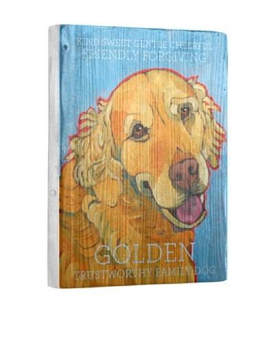Ursula Dodge Golden Retriever Reclaimed Wood Portrait