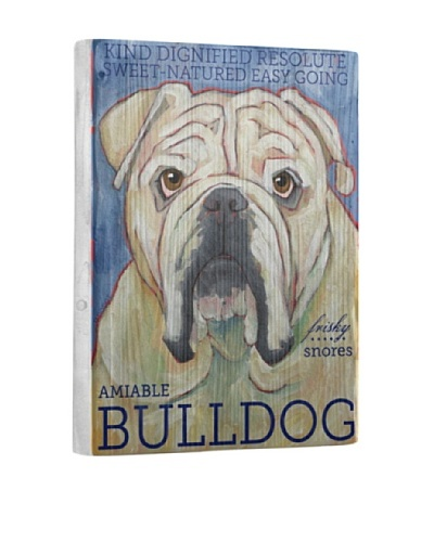 Ursula Dodge Bulldog Reclaimed Wood Portrait