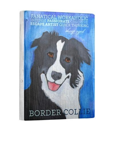 Ursula Dodge Border Collie Reclaimed Wood Portrait