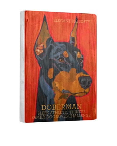 Ursula Dodge Doberman Pinscher Reclaimed Wood Portrait