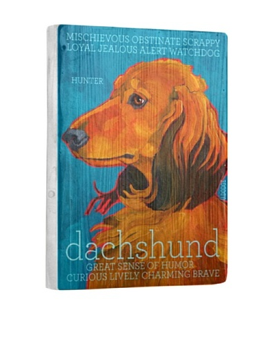 Ursula Dodge Dachshund Tan Reclaimed Wood Portrait