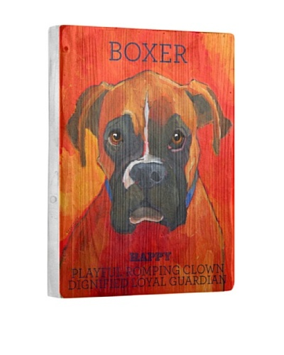 Ursula Dodge Boxer Reclaimed Wood Portrait