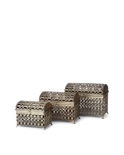 Carolyn Kinder Set of 3 Fiennes Metal Storage Trunks [Bronze]