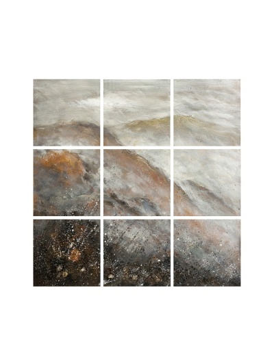Carolyn Kinder 9-Panel Mountain Scape, White/Brown