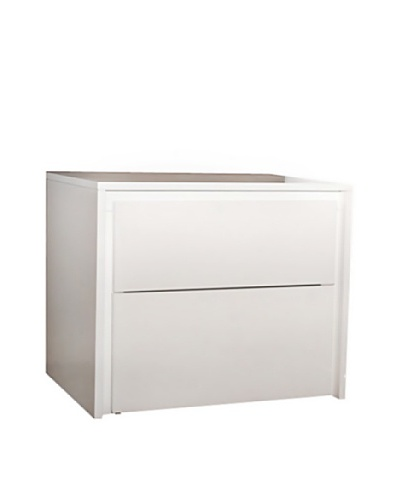 Casabianca Furniture Zen 2-Drawer Nightstand, Gloss White