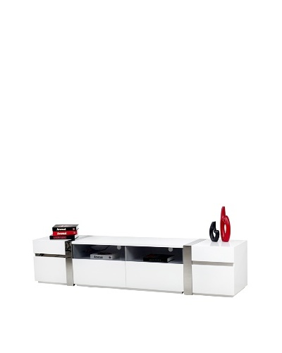 Casabianca Furniture Cristallino Media Console, White