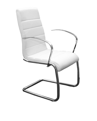 Casabianca Furniture Avenue Arms Chair Dining Chair, White/Chrome