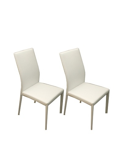 Casabianca Furniture Set of 2 Heritage Dining Chairs, White