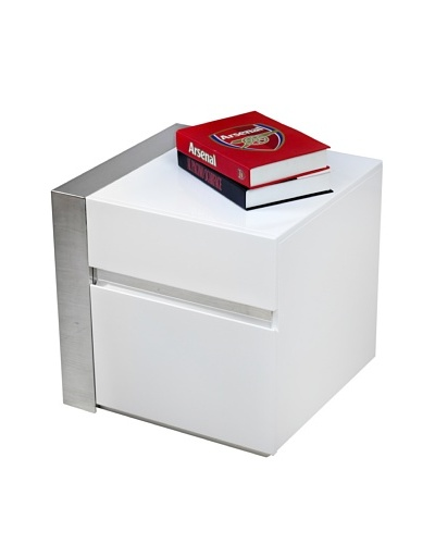 Casabianca Furniture Cristallino Right Side Table, White