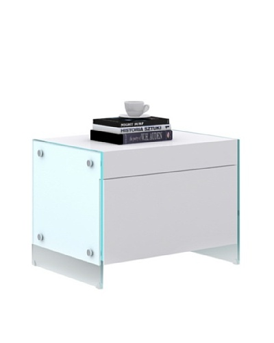 Casabianca Furniture Il Vetro 1-Drawer Nightstand, Gloss White