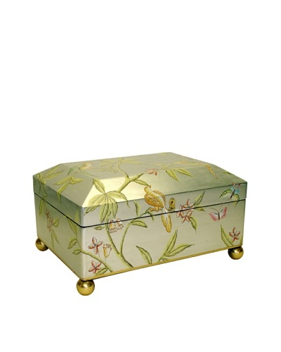 Castilian Jewelry Box, Brushed Silver/Green