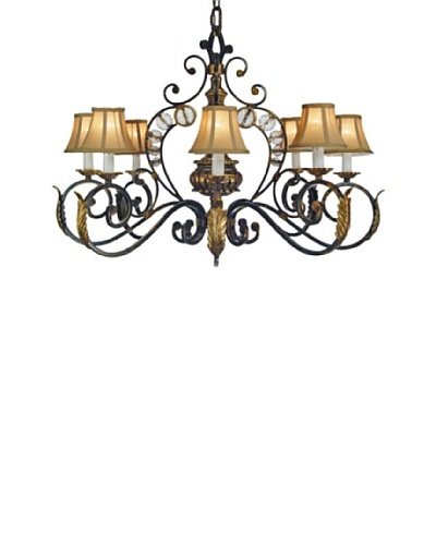 Castilian Julis Chandelier, Black/Brushed Gold