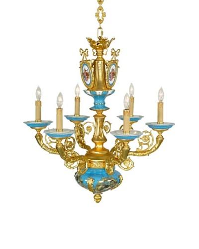 Castilian Azure Chandelier, Gold/Blue/White