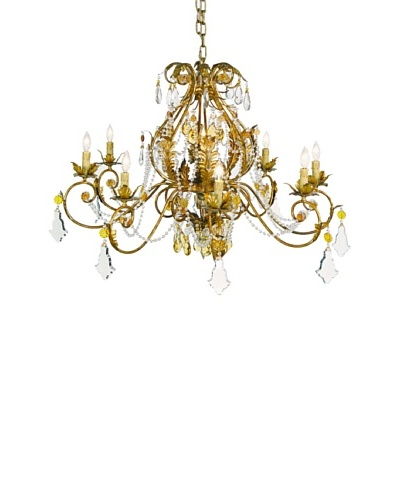 Castilian Ketcham Chandelier, Antique Gold/Amber