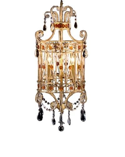 Castilian Avery Chandelier, Brushed Gold/Amber