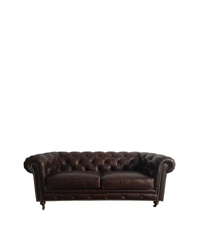 CDI Chesterfield Vintage Leather Loveseat, Brown