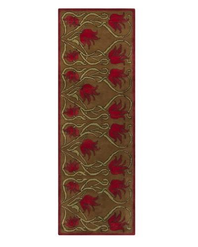 Chandra Fresca Rug, Red/Green/Brown, 2' 6 x 7' 6 Runner