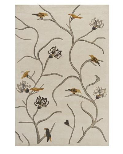 Chandra Hanu Birds Novelty Rug, Cream, 6' x 9'