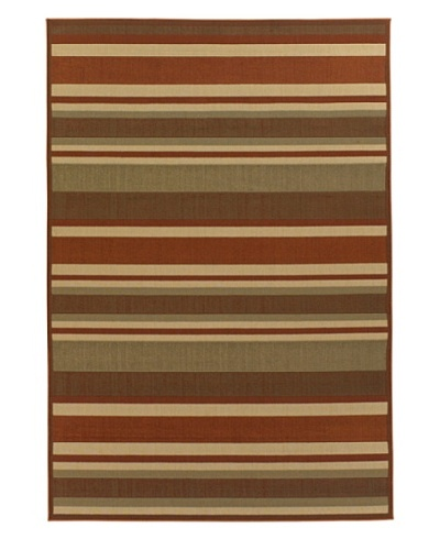 Chandra Ryan Indoor/Outdoor Rug, Burnt Orange/Sand/Olive, 5' x 8'